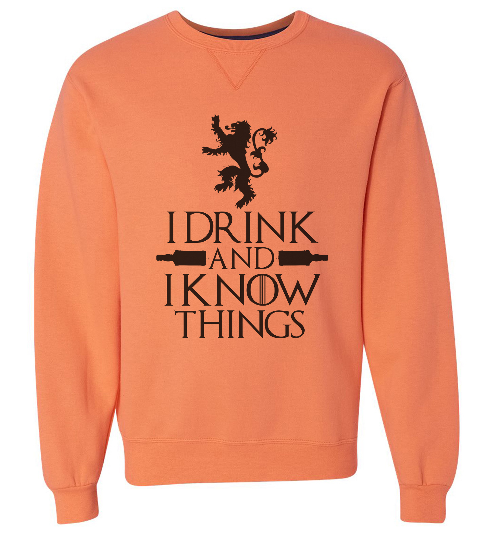 "Mens Dream Super Soft Sweatshirt ""I Drink And I Know Things"" High Quality Long Sleeve Sweater Medium, Orange"