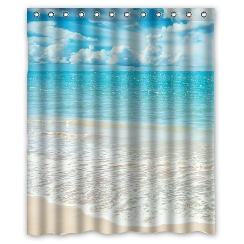 GreenDecor Beach Ocean Waves California Paradise Waterproof Shower Curtain Set with Hooks Bathroom Accessories Size 60x72 inches