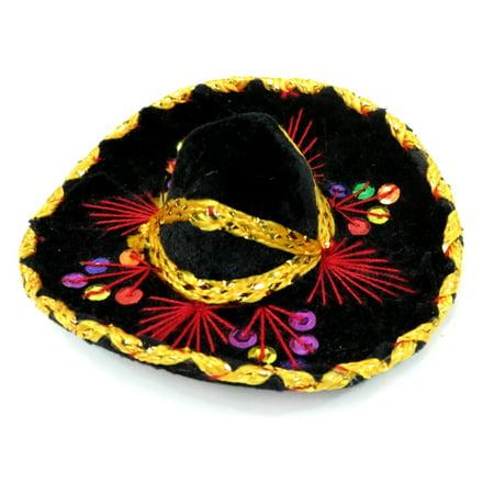 Small Velvet Mariachi Sombrero in Assorted - Mini Sombreros