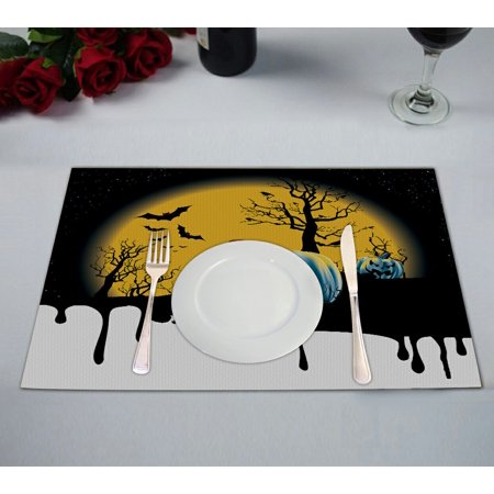 GCKG Full Moon Placemat, a Dripping Halloween Background with Pumpkin Placemat 12x18 Inch,Set of 2 - Halloween Place Mats