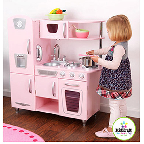 Kidkraft Wooden Play Kitchen kidkraft vintage wooden play kitchen in pink - walmart