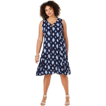 Roaman's Plus Size A-line Crinkle Dress With Tassel Ties
