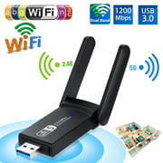 USB WiFi Adapter for PC, 1200Mbps Dual Band 2.42GHz/300Mbps 5.8GHz/867Mbps High Gain 2dBi Antennas USB 3.0 Wireless Network Adapter for Desktop Laptop with Windows 10/8/7/XP/Vista, Mac OS