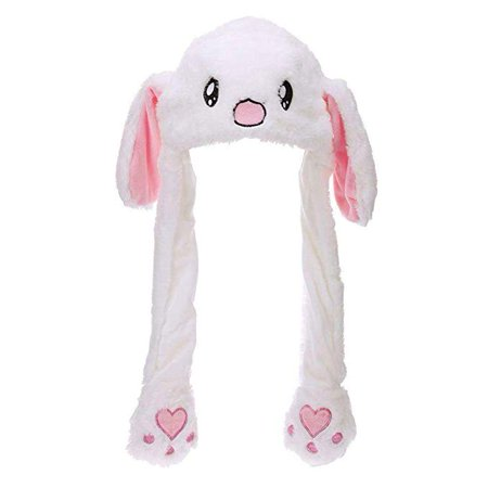 Eutuxia Rabbit Hat with Moving Ears, Funny Soft Plush Moveable Bunny Cap [White] - Funny Hats With Hair