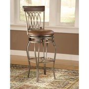 """Hillsdale Furniture Montello 43"""" Swivel Counter Stool, Old Steel Finish with Brown Faux Leather"""