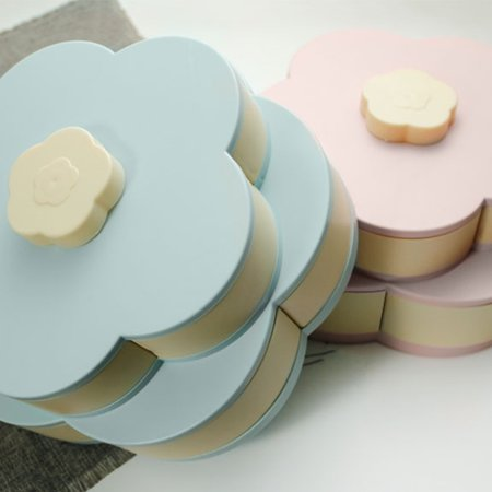 Double Layers Snack Box Candy Plates Petal-Shape Rotating Snack Tray Double-deck Dried Fruit Plate Storage Organizer Box - image 5 of 7