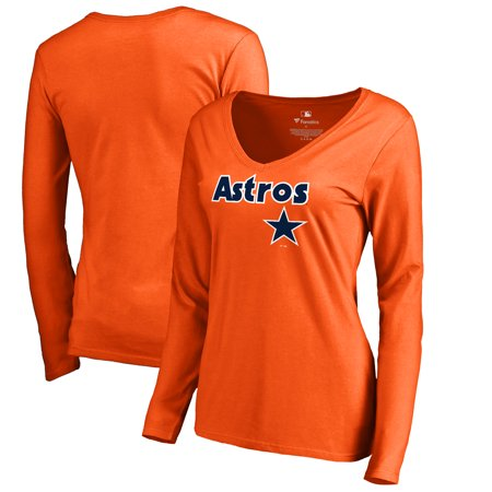 Houston Astros Fanatics Branded Women's Cooperstown Collection Wahconah Long Sleeve V-Neck T-Shirt - Orange Cooperstown Ny Baseball