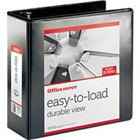 """Office Depot® Brand Heavy-Duty Easy-To-Load Slant D-Ring View Binder, 3"""" Rings, 56% Recycled, Black"""