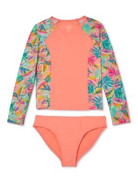 Wonder Nation Girls 4-18 & Plus Jungle Brush Long Sleeve Swim Shirt Rashguard, 2-Piece Swimsuit Set