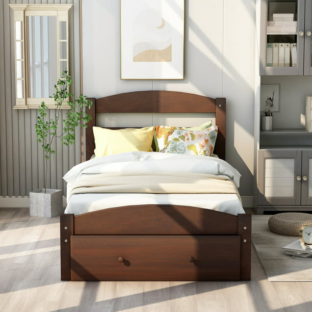 UHOMEPRO Twin Bed Frame for Kids, Heavy Duty Twin Bed Frame with Headboard and Footboard, Modern Kids Bed Furniture for Bedroom with Storage Drawer, Holds 275 lb, No Box Spring Needed, Walnut, Q6231