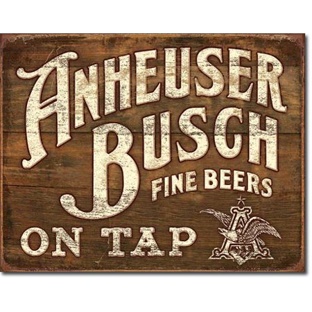 Anheuser Busch Fine Beers On Tap Tin Sign