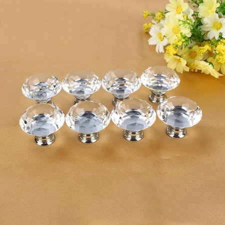 Yosoo 8pcs 40mm Clear Diamond Crystal Glass Door Knobs Drawer Cabinet Furniture Kitchen,8pcs 40mm Clear Diamond Crystal Glass Door Knobs Drawer Cabinet Furniture