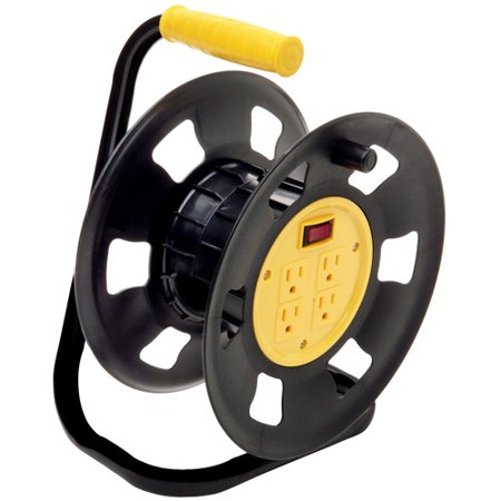 Designers Edge E230 Retractable Extension Cord Storage Reel, Multi-Outlet Adapter, Black/Yellow