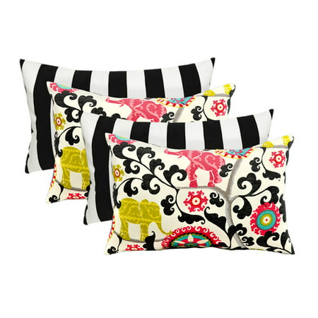 Set of 4 Indoor Decorative Lumbar/Rectangle Pillows - 2 Black and White Stripe & 2 Pink, Green, Gray Turquoise Bohemian -