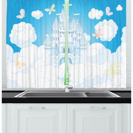 Fairy Curtains 2 Panels Set, Illustration of a Fairy Tale Castle Clouds in the Sky and Butterflies Print, Window Drapes for Living Room Bedroom, 55W X 39L Inches, White and Sky Blue, by Ambesonne Butterfly Framed Panel Print