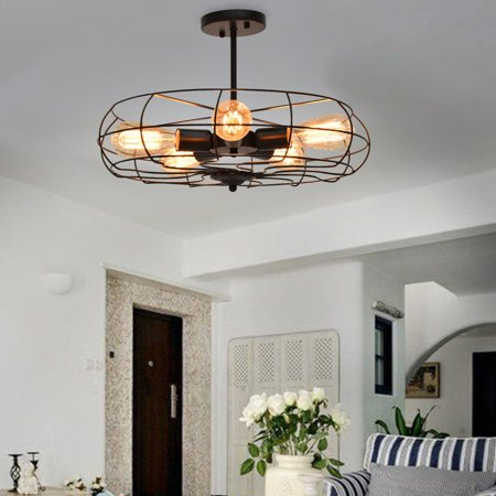 Legacy Ceiling Flush - Gymax Industrial Vintage Semi Flush Mount Ceiling Light Metal Hanging Fixture 5-Light