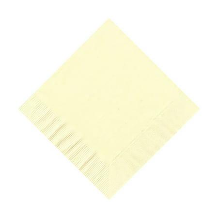 200 -  (4 Pks of 50) 2 Ply Plain Solid Colors Beverage Cocktail Napkins Paper - Ivory