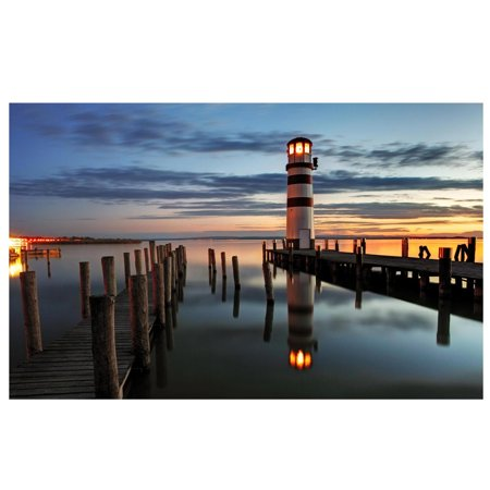 LED Lighted Coastal Sunset Lighthouse Scene Canvas Wall Art 15.75