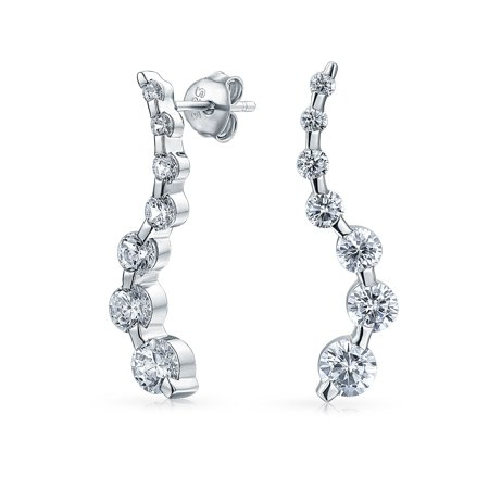 - Bridal Zig Zag Love Is A Journey Graduated Size Round Solitaire Cubic Zirconia CZ Drop Stud Earrings Sterling Silver