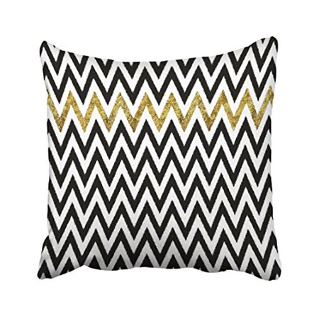 WinHome Modern Vintage Black And Gold Stripes Chevron Pattern Polyester 18 x 18 Inch Square Throw Pillow Covers With Hidden Zipper Home Sofa Cushion Decorative - Gold Chevron