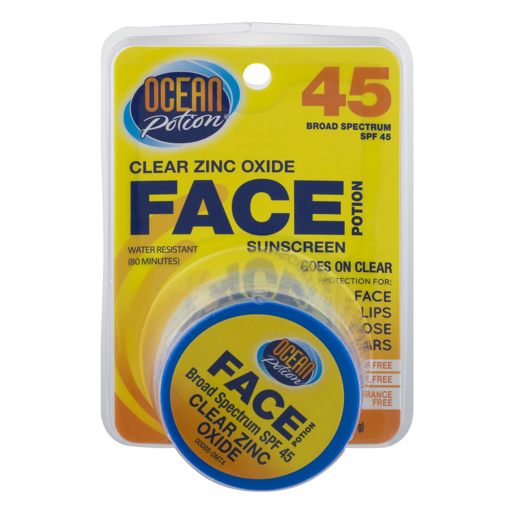 Ocean Potion Face Potion Clear Zinc Oxide SPF 45, 1.0 OZ