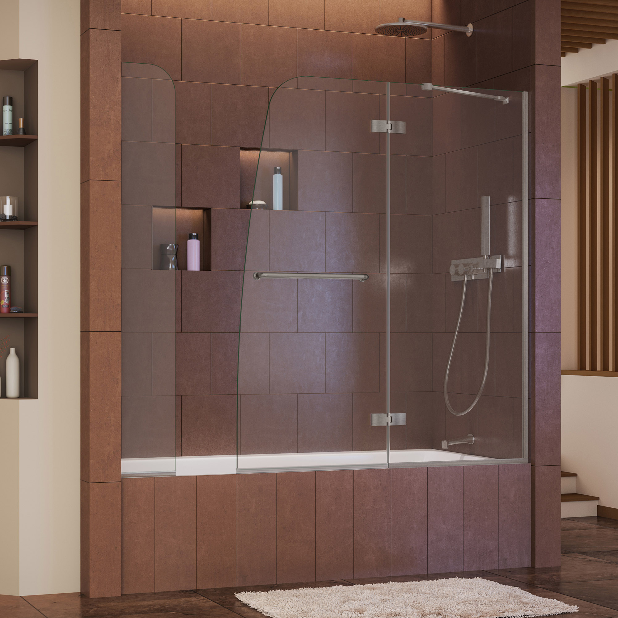 DreamLine Aqua Ultra 57-60 in. W x 58 in. H Frameless Hinged Tub Door with Extender Panel in Brushed Nickel