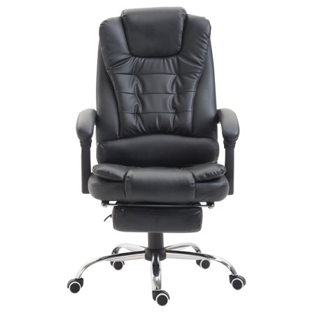 GHP Black PU Leather Office Chair with Retractable Footrest & 2 Padded Armrests (Black Leather Armrest)