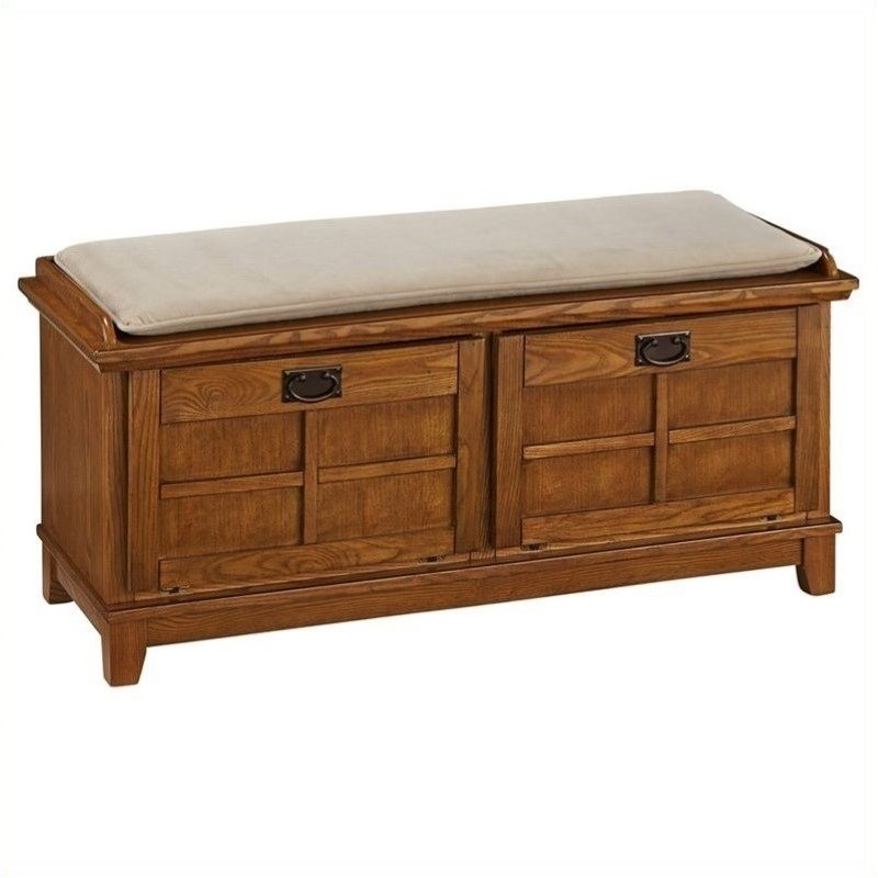 Bowery Hill Upholstered Bench in Cottage Oak
