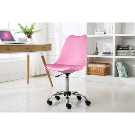 Porthos Home Adjustable Height Cushioned Seat Office Desk Chair with Chrome Base and Caster Wheels, Easy Assembly Castered Desk Chair