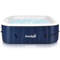 Costway 6Person Inflatable Hot Tub Massage Spa Dark Blue White