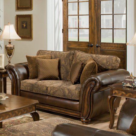 United Furniture Simmons Zephyr Vintage Leather And Chenille Loveseat With Accent Pillows