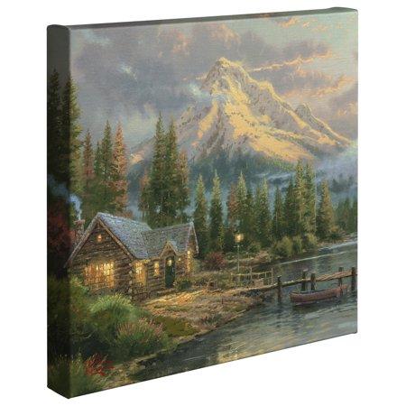 "Thomas Kinkade Lakeside Hideaway - 14"" x 14"" Gallery Wrapped Canvas"
