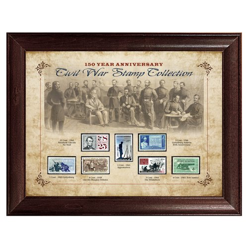 American Coin Treasures 150 Year Anniversary Civil War Stamp Framed Memorabilia