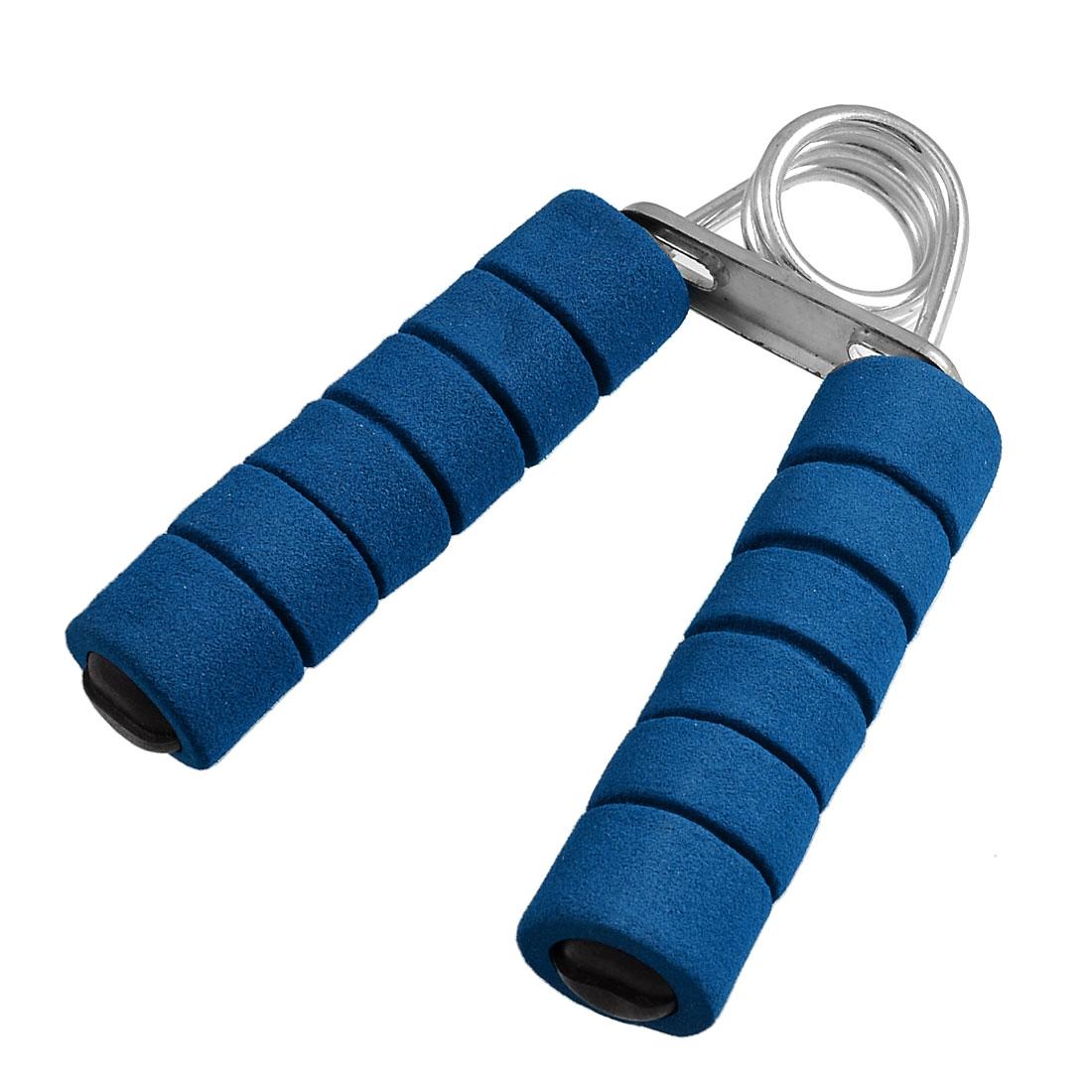 Unique Bargains Slotted Foam Coated Handle Metal Hand Grip Strengthener Fitness Equipment Blue