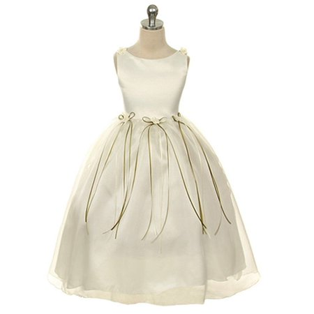 Kids Dream Little Girls Ivory Rosebud Organza Flower Girl Dress 2 - Flower Girl Dresses Organza