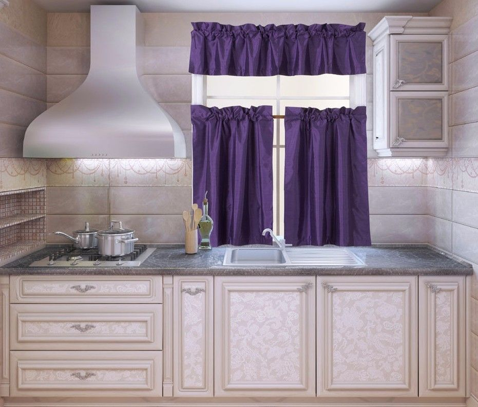 K3 Purple 3 Piece Blackout Rod Pocket Kitchen Window