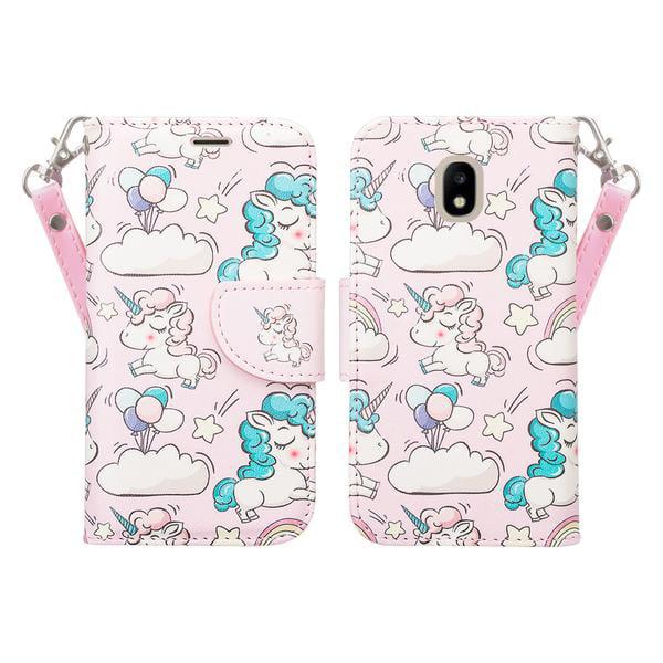Samsung Galaxy J3 (2018) Case, Express Prime 3 (SM-J337A)/ Galaxy J3 Achieve Case Cute Girls Women Pu Leather Wallet Case with ID Slot & Kickstand Phone Case for Galaxy J3 (2018) - Multi Unicorn - image 2 de 5