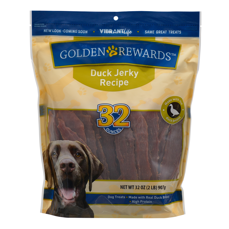 Golden Rewards Duck Jerky Dog Treats, 32 oz.