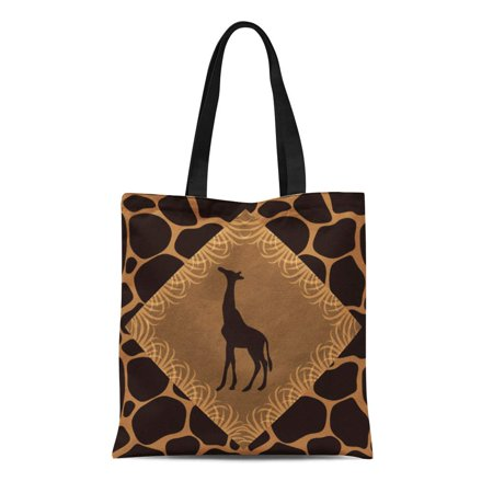 LADDKE Canvas Tote Bag Brown Designedwithtlc Giraffe Tan Safari Wildlife Spots Spotted Reusable Handbag Shoulder Grocery Shopping (Giraffe Hobo Handbag)