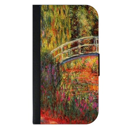Monet Water Lilly Pond - Wallet Style Cell Phone Case with 2 Card Slots and a Flip Cover Compatible with the Apple iPhone 4 and 4s Universal (Apple Water Lilly)