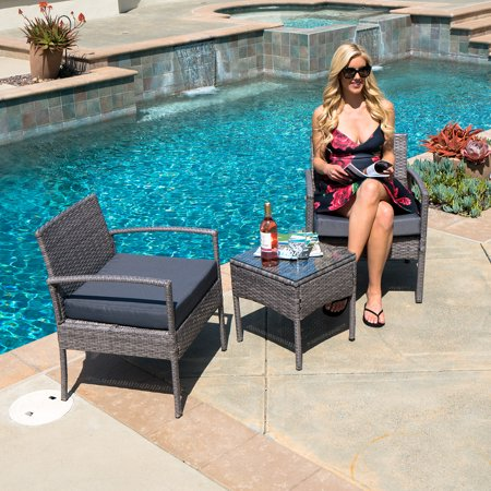 BELLEZE Wickered Furniture Outdoor Set 3 Piece Patio Outdoor Rattan Patio Set Two Chairs One Glass Table Grey ()
