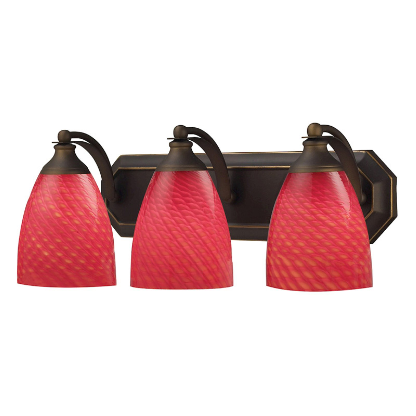 Elk Lighting Bath and Spa 570-3 Bathroom Vanity Light with Scarlet Red Glass