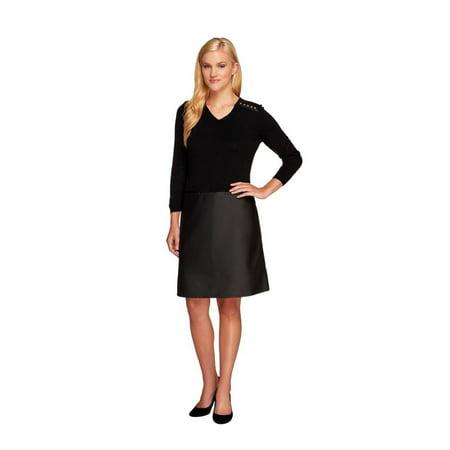 Dennis Basso Knit Faux Leather V-Neck Dress A258055 Merino Knit Dress