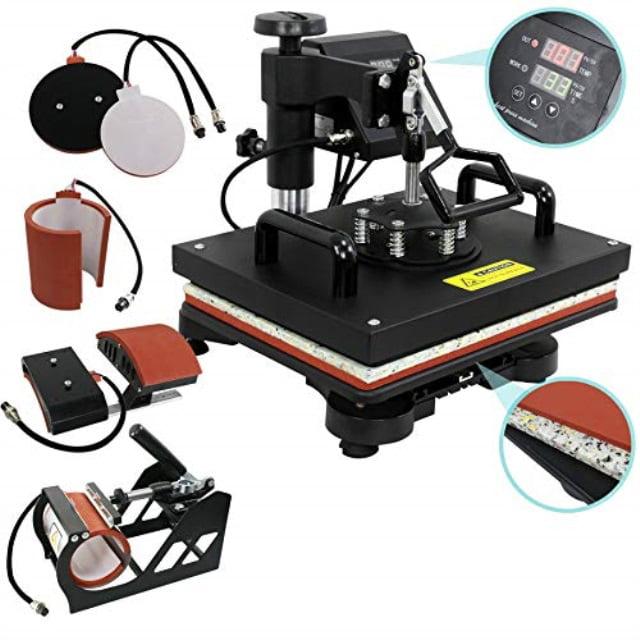 zeny digital heat press transfer 5 in 1 swing away heat press machine for t-shirt mug hat plate cap (5-in-1)