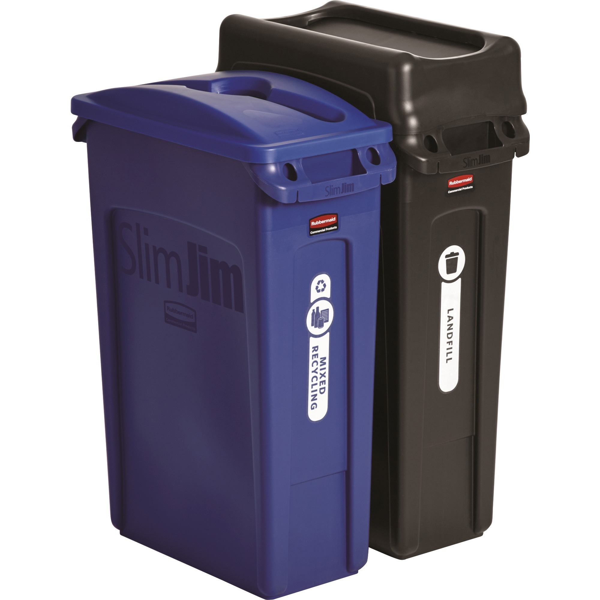 Rubbermaid Commercial, RCP1998896, Slim Jim 2-container Recycling Set, 1, Blue,Black