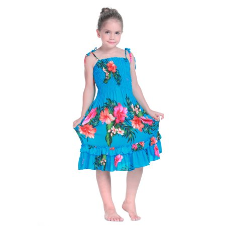 Girl Elastic Ruffle Hawaiian Luau Dress in Turquoise 2T