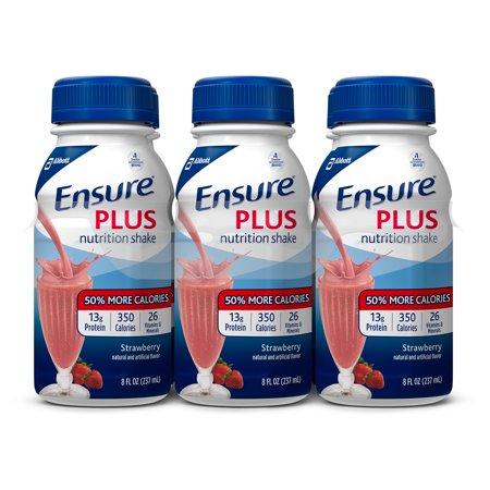 Ensure Plus Nutrition Shake Strawberry with 13 grams of protein, Meal Replacement Shakes, 8 fl oz Bottles (Pack of 6)
