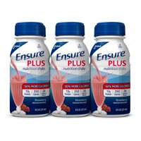 Ensure Plus Nutrition Shake with 13 grams of high-quality protein, Meal Replacement Shakes, Strawberry, 8 fl oz, 6 count