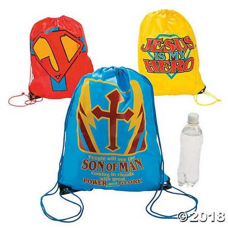 Large Jesus Is My Superhero Drawstring Bags (Superhero Wedding)