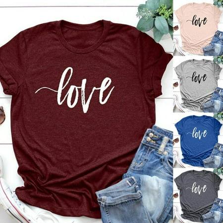 Women Cotton T-shirt Love Letter Print Graphic Tees Womens Team Love T-shirt